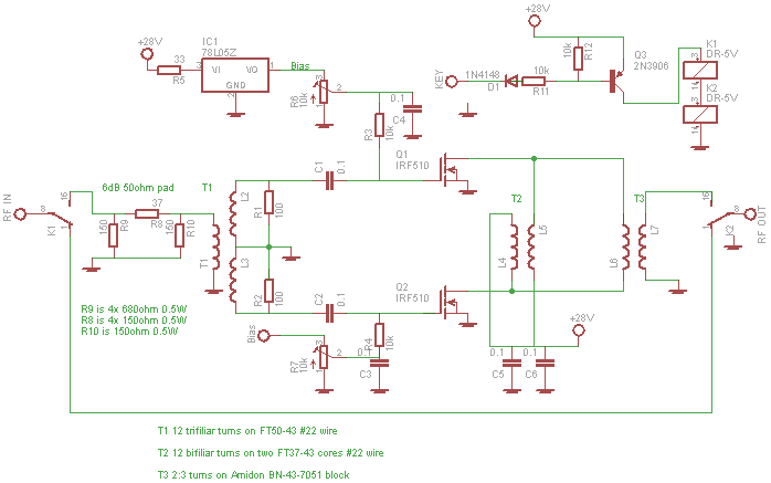 Simple Cheap 50W PA - A homebrew IRF510 RF Amplifier